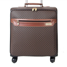 Men Retro travel bags women lattice suitcase universal wheels Commerce trolley rolling luggage pu valiz bag
