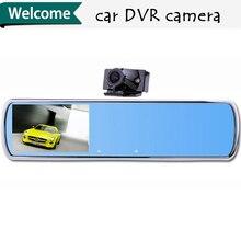 Hight Quality DV700 Car dvr camera dual lens mirror blue mirror 4.3″ TFT HD 1080P with G-sensor H.264 rearview mirror camera