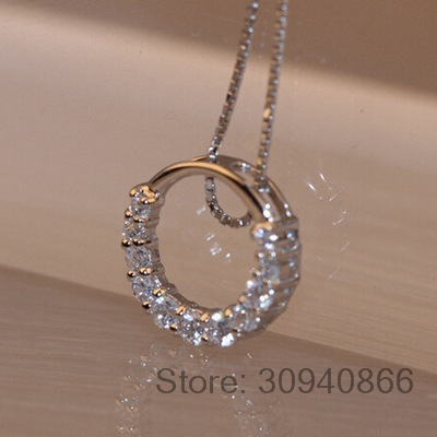 Hot Sale Promotion 2019 New Shiny Zircon Crystal Circle 925 Sterling Silver Women's Pendant Necklaces Jewelry Gift