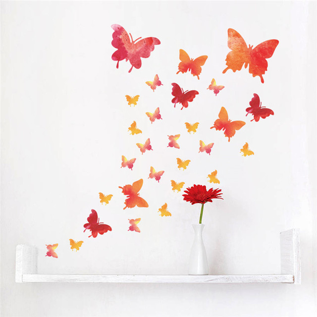 Flying Butterfly Wall Stickers For Kids Rooms DIY Beautiful Nursery Room  Decor Red Flowers Wall Decals Poster Mural Home Decor