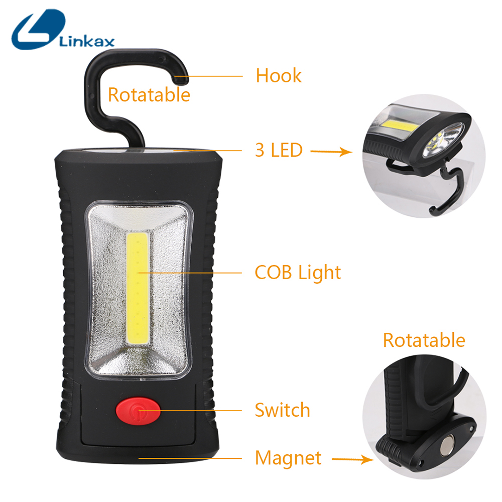 Portable Multifunctional COB+3 LED Stand Flashlight Torch Outdoor Handy Lamp Work Camp Light Tent Hang Lamp with Magnet Hook