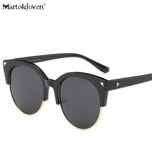[Marte&Joven] New Colourful Mirrored Anti-UV Butterfly Points Sunglasses Women Semi-Rimless PC Frame Retro Polarized Eyeglasses