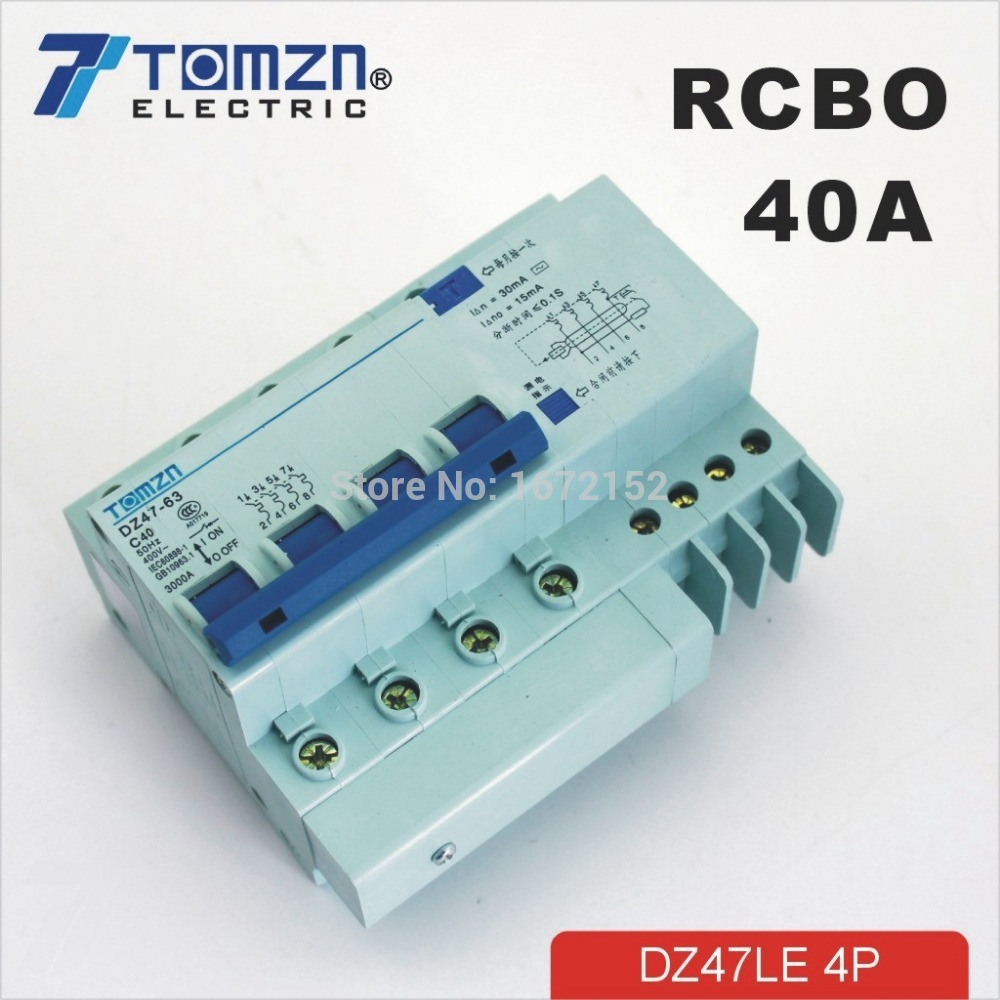 4P 40A DZ47LE 400V~ Residual MCB current Circuit breaker with over current and Leakage protection RCBO