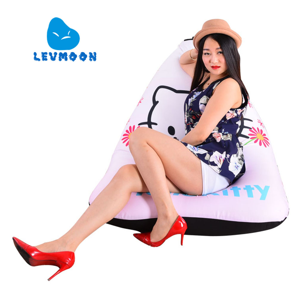 LEVMOON Beanbag Sofa Chair Hello Kitty Seat zac Comfort Bean Bag Bed Cover Without Filler Cotton Indoor Beanbag Lounge Chair levmoon beanbag sofa chair british fashion seat zac comfort bean bag bed cover without filler cotton indoor beanbag lounge chair