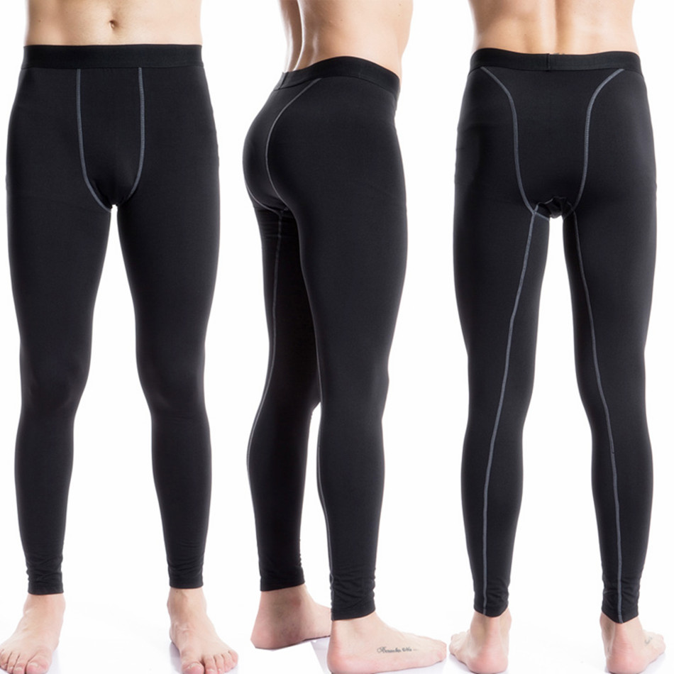 Add Wool Compression Brushed Leggings Athletic Skiing pants Underwear Leggings Men Fitness Gym Sweatpants Black Running pants