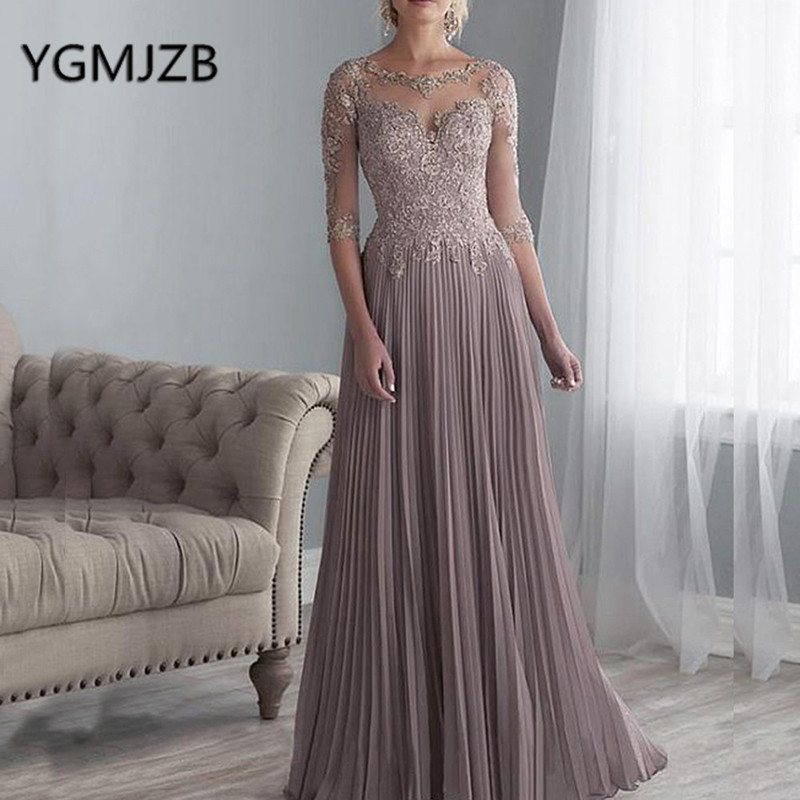 Elegant Chiffon Mother Of The Bride Dresses 2019 A-Line Half Sleeves Lace Mother Of The Groom Evening Dress Formal Party Dress