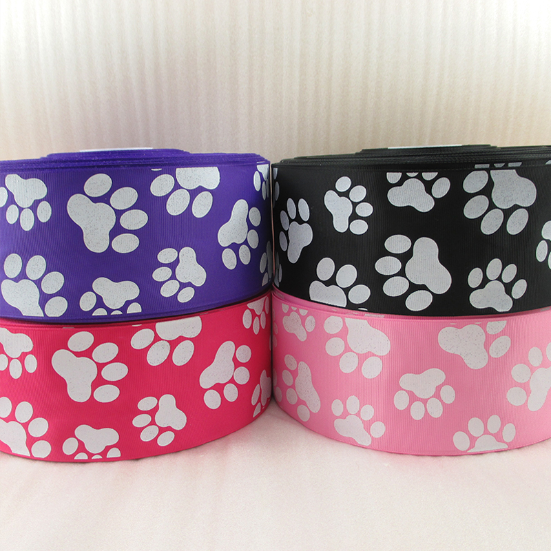 3 75mm glitter dog s feet footprint ribbon printed polyester ribbon 50 yards wedding gift wrap