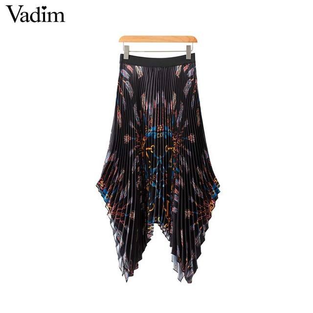 Vadim femmes élégant chaînes imprimer plissée jupe faldas mujer taille élastique dames de mode casual asymétrique midi jupes BA164