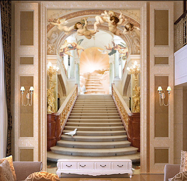 Custom 3 d wallpaper angel stairs to heaven murals for sitting room background wall vinyl papel for I ve been seeing angels in my living room