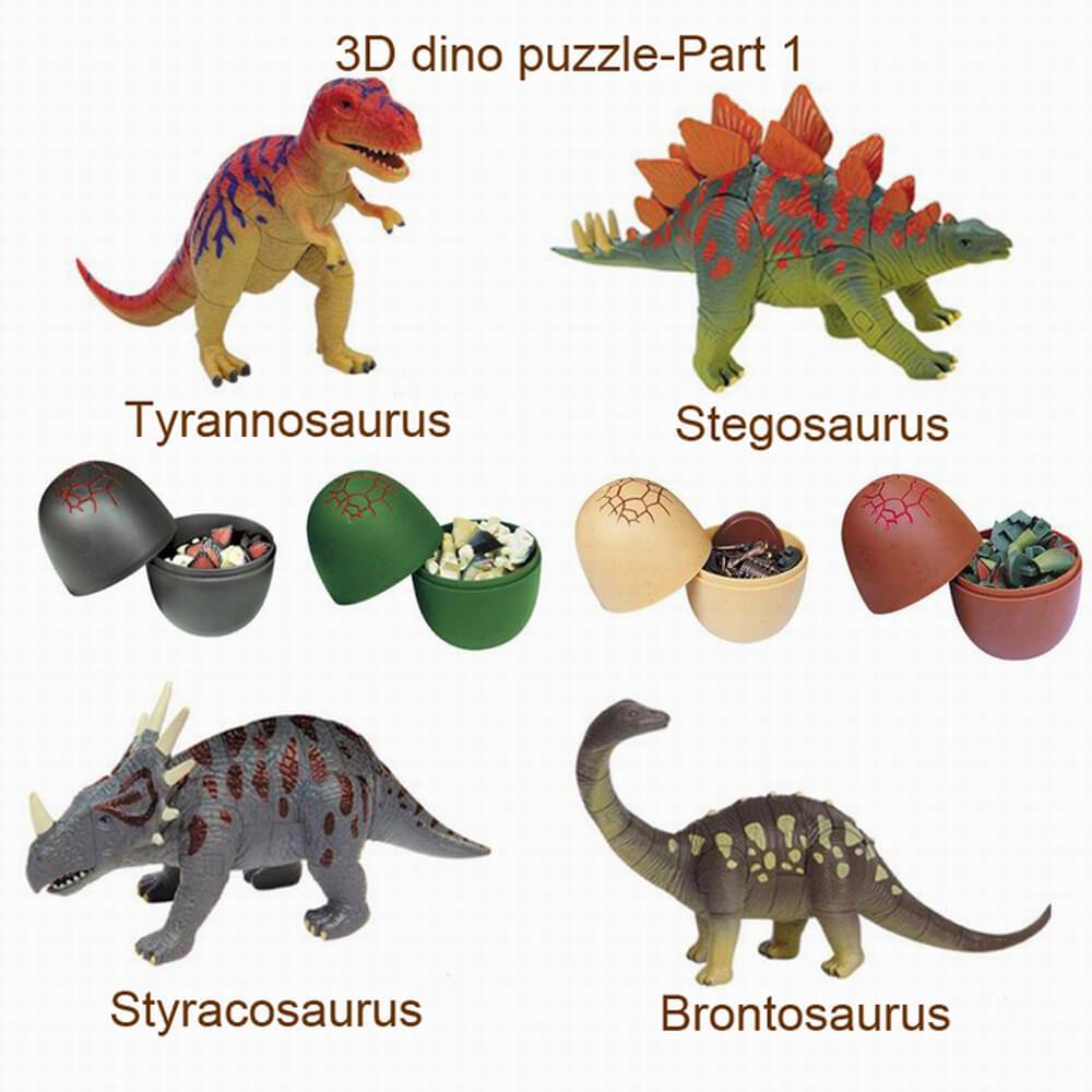 UKENN 4pcs 3D דינוזאורים פאזל ביצה 0366S-1 - פאזלים