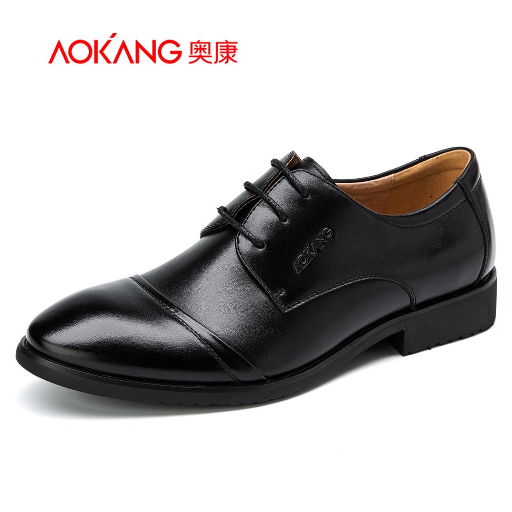 Aokang 2016 Genuine Leather Men's Oxfords Quality Brand Business Oxford Dress Shoes Men Flats Tenis Masculino Wedding Size 37-45 top quality crocodile grain black oxfords mens dress shoes genuine leather business shoes mens formal wedding shoes