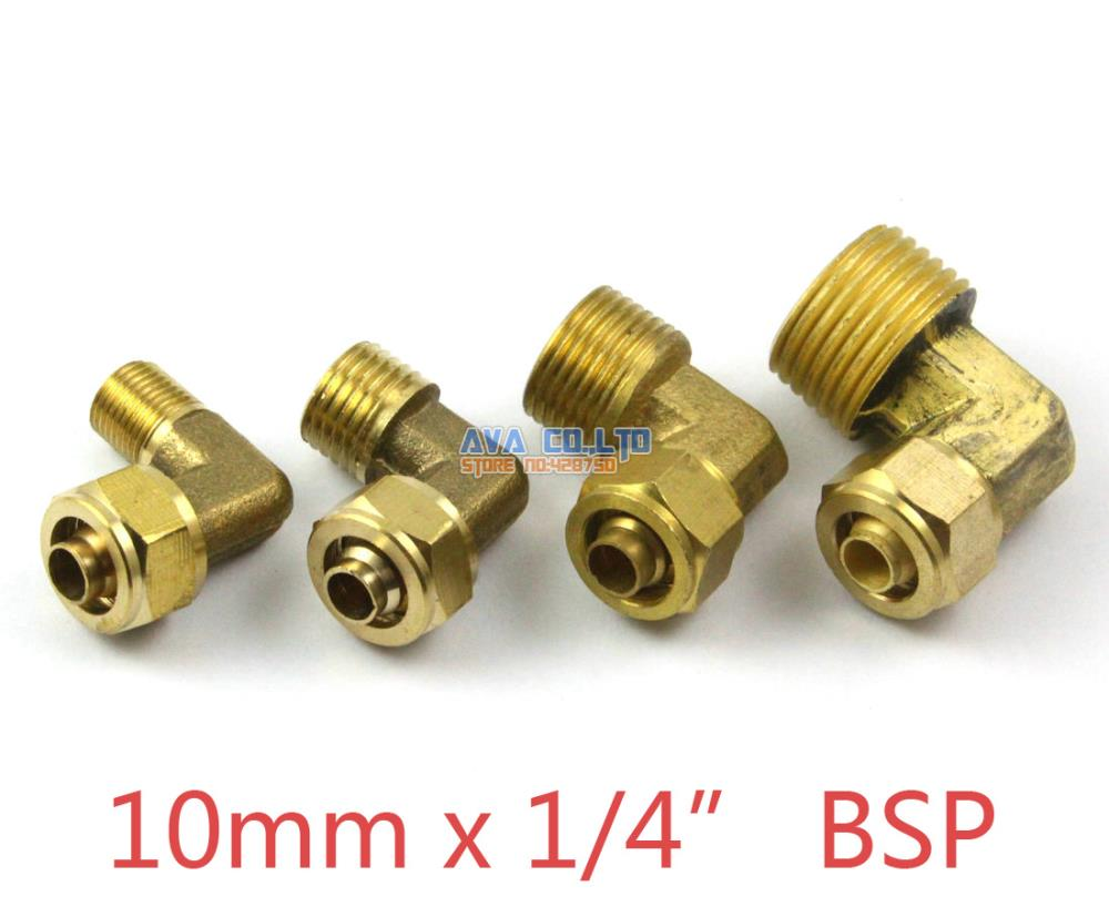 5 Pieces 10mm x 1/4 BSP Brass Elbow Pneumatic Pipe Hose Quick Coupler Connector Coupling Fitting 10 pieces 6mm x 1 8 bsp brass straight female pneumatic pipe hose quick coupler connector coupling fitting