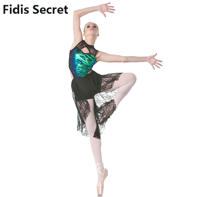 New Lyrical Dress w Green Sequin Black Lace for Women Girls Ballet Contemporary  Performance Dance Costume Lady Jazz Stage Wear 11be728693ba