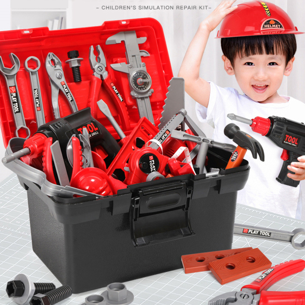 Children Toys Electric Drills Tool Toys Toolbox Set Simulation Drill Screwdriver Repair Tool Kit House Play Toys For Kids