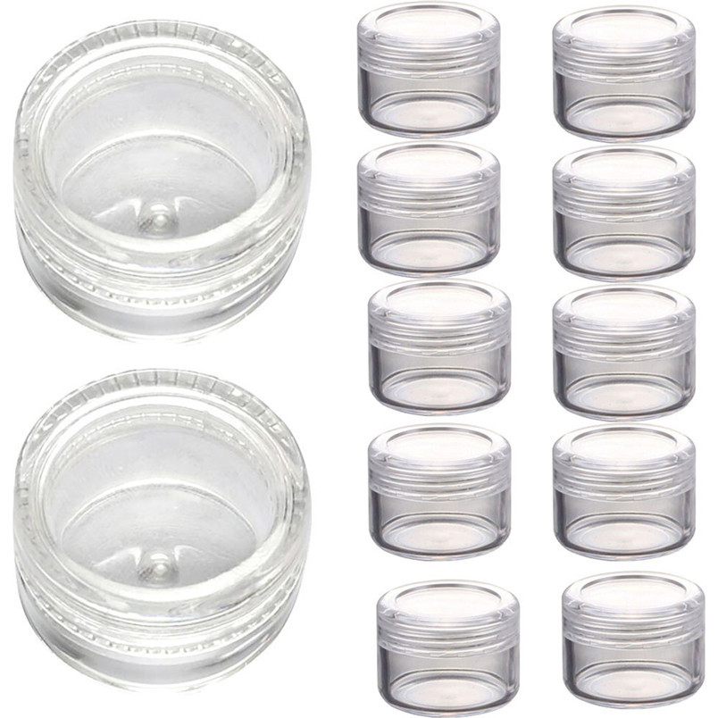 50PCS 3g Clear Plastic Empty Cosmetic Sample Containers Jars Pots Small Makeup Make Up Tool Free Shipping Wholesale Oct 20 100 pcs lot of small glass vials with cork tops 1 ml tiny bottles little empty jars