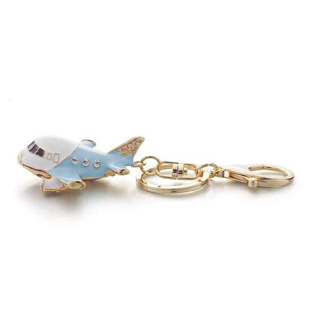 Dalaful Vivid Enamel Aircraft Plane Crystal Keyrings Keychains Purse Bag Pendant Key Chains Holder Rings For Car K313