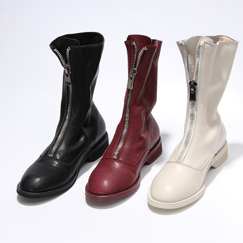 Casidueho Leather Women Short Boots Flats Dress Shoes Woman Vintage Winter Motorcycle Booties Front Zip Gladiator Big Size Boots все цены