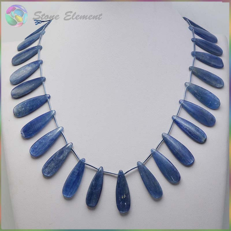 Good Quality Natural Blue Kyanite Cyanite Disthene Crystal Flat Drop Beads 10x30 15x30mm