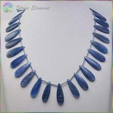 Хорошее качество натуральный Синий Кианит/цианит/Disthene Кристалл плоские капли бусины 10x30/15x30 мм