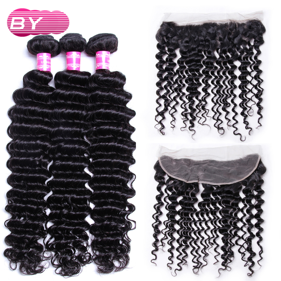 BY MalaysianHuman Hair Deep Wave 3 Bundles With 13x4 Lace Frontal Non Remy Hair Bundle For