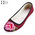 HEE GRAND  Flats Shoes Woman Casual Wedges Platform 2016 Slip On Flax Cloth Embroidered Casual  Women Shoes Size 35-40 XWD4564