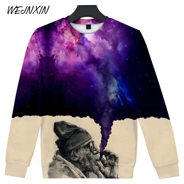 WEJNXIN Hot Sale Old Man Smoking 3D Hoodies Men Women Starry Sky Smog Funny Sweatshirts Harajuku Hip Hop Graffiti Hoodie