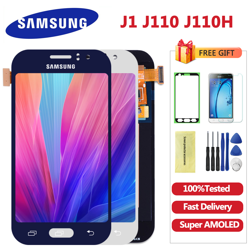 Super AMOLED LCD for SAMSUNG Galaxy J1 Ace Display J110 J110H J110F J110M Touch Screen Digitizer Replacement Free gift