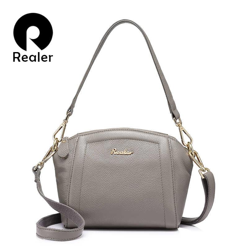 Realer Messenger Tas untuk Wanita Tas Kecil Tas Kulit Asli Tas Selempang Bahu Wanita Kualitas Tinggi Malam Top-Handle Bag