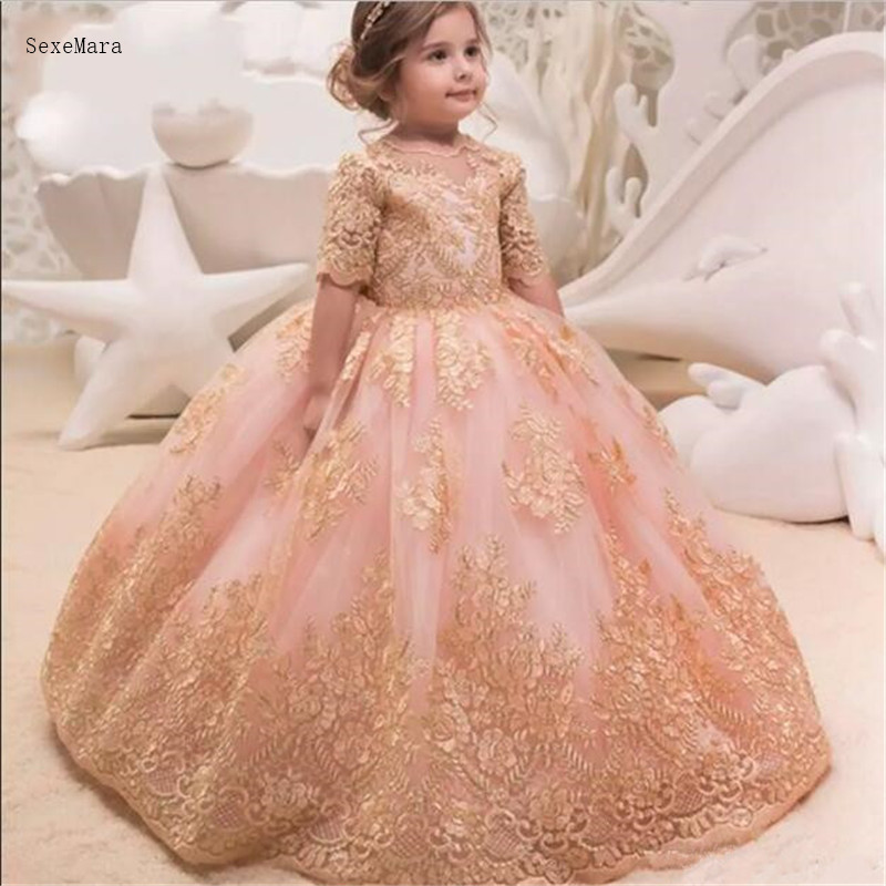 Arabic Dubai Style Formal Flower Girl Dresses For Weddings Princess Ball Gown Gold Appliques Bow Sash V-back Prom Gowns For