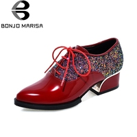 BONJOMARISA 2018 Spring Autumn New Fashion Bling Women Pumps Lace Up Platform Shoes Woman Big Size 34 43 Med Heels Footwear