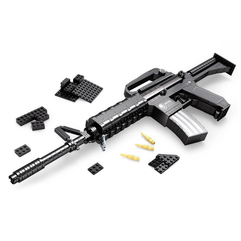 M16 Automatique Fusil Grande Taille Pistolet Building Blocks Set 524 pcs Briques Arme Compatible avec cadeau Modesl et Bâtiment Armée blocs