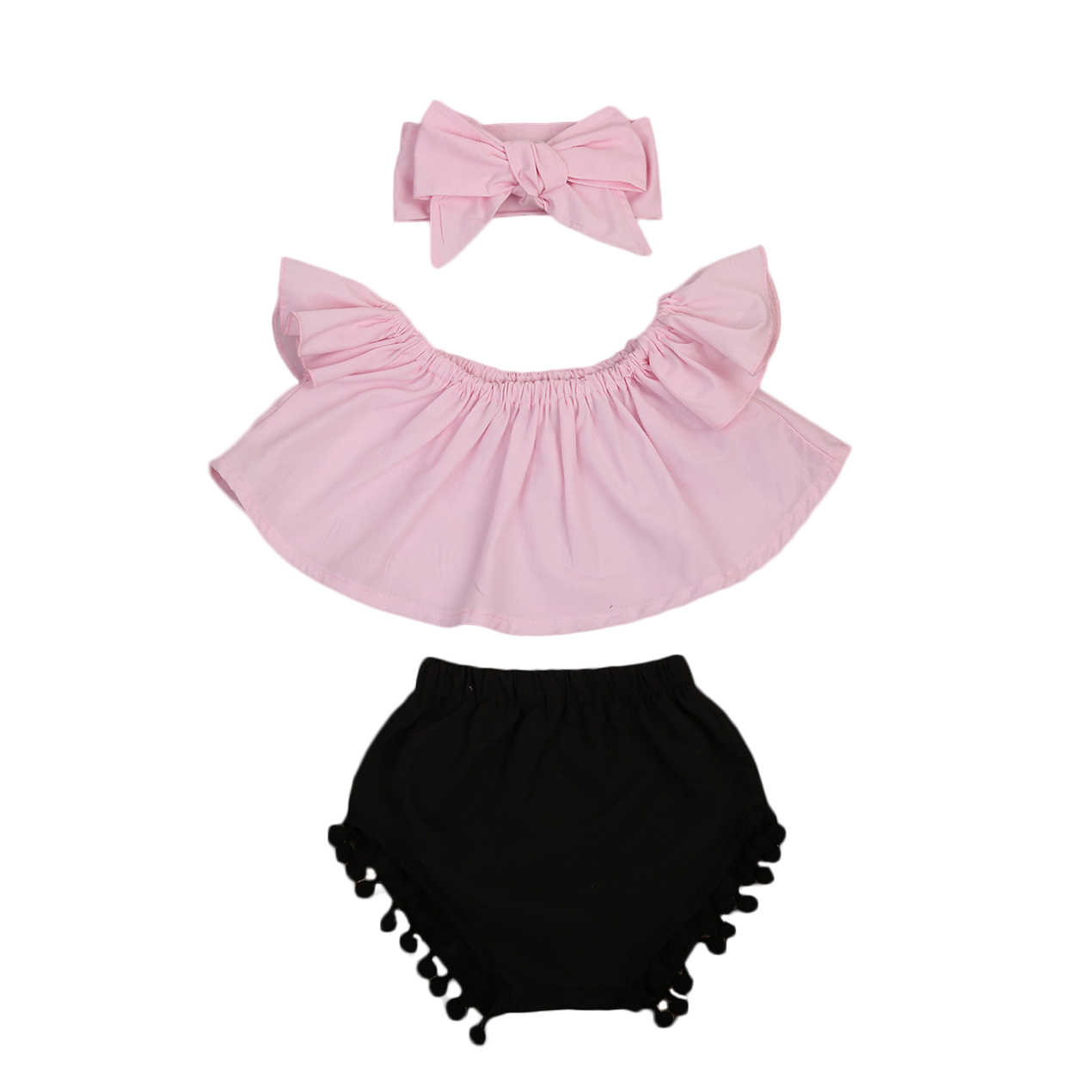 27211acd1bf8 Toddler Baby Girl Clothes Set Off Shoulder Top Crop T-Shirt Shorts Pants  Small Ball