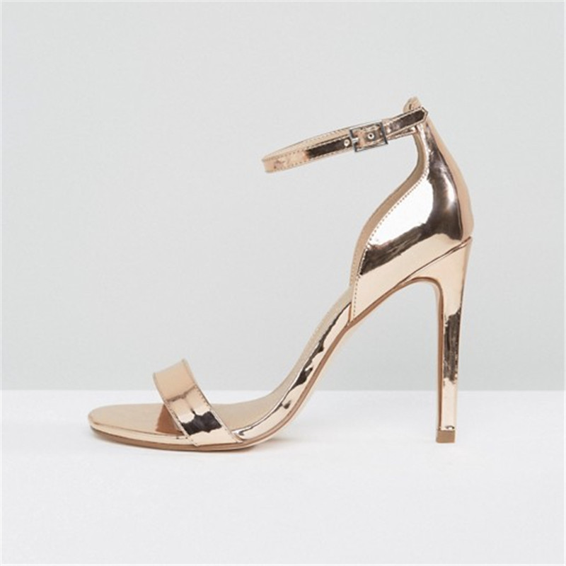 Aidocrystal 2017 Sexy Women Sliver Golden Pumps Open Toe Ankle Strap Heels Sandals Woman Sandals Thick High Heel Shoes women chic champagne patent leather sandals square thick high heels pumps covered heel single strap gladiator shoes golden pumps