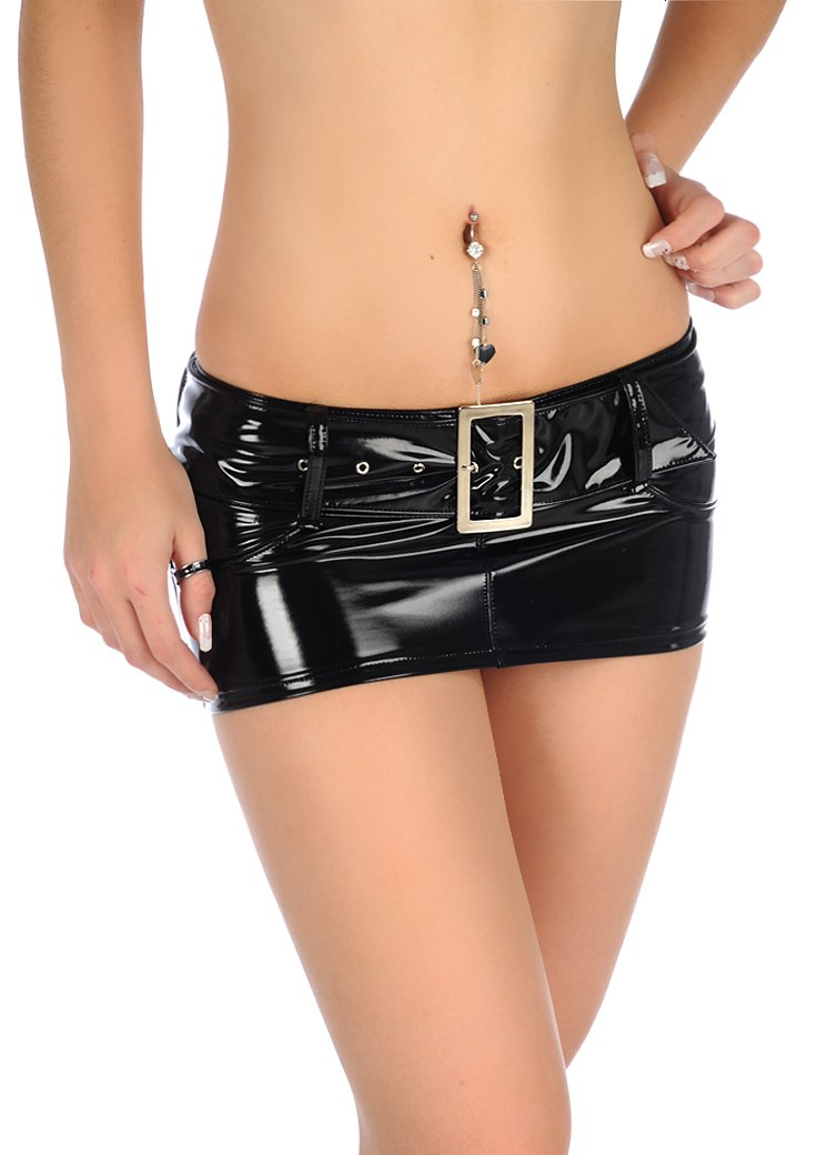 Sexy Micro MINI Skirt Latex Faux Leather Skirt Sequin Skirt Tight Hip Slim Low Waist With Belt Pencil Package Hip Skirt image