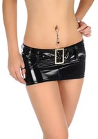 Sexy Micro Mini Skirt Latex Faux Leather Skirt Sequin Skirt Tight Hip Slim Low Waist With Belt Pencil Package Hip Skirt