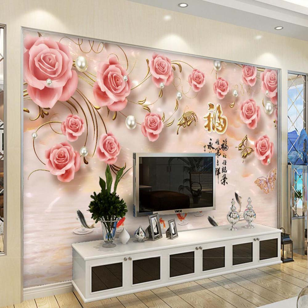 3d embossed rose fish hd photo wallpaper mural for living room tv 3d embossed rose fish hd photo wallpaper mural for living room tv background wall art decor papier peint wall paper murals in wallpapers from home amipublicfo Gallery
