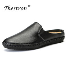 Thestron Summer Handmade Men Shoes Brand Designer Slip On Youth Casual Fashion Sneakers Genuine Leather Mens Half Slippers