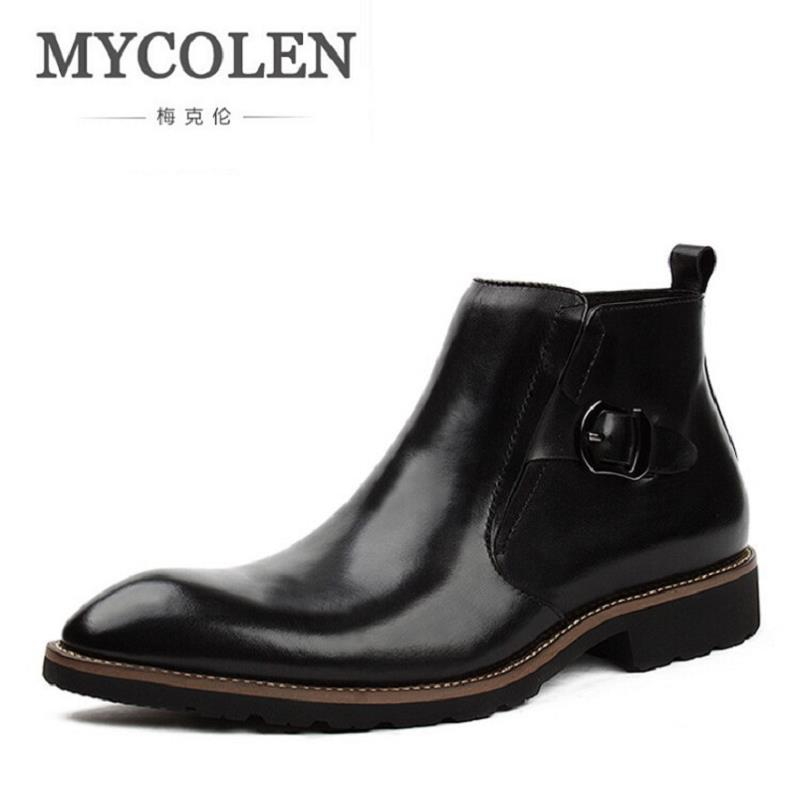 MYCOLEN Quality Italian Mens Ankle Boots Pointed Toe High Top Male Business Dress Shoes Men Zip Elegant Chelsea Dress Botas handsome red genuine leather men ankle boots metal pointed toe mens wedding dress shoes high top botas hombre cowboy boots