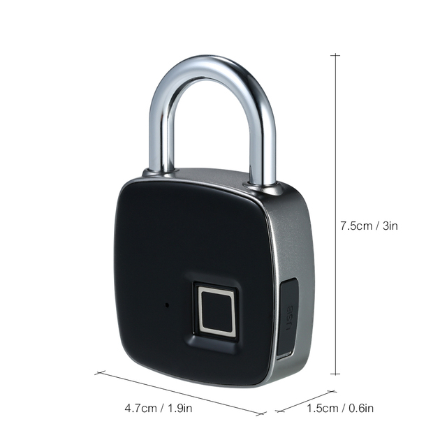 Keyless Electronic Fingerprint lock USB Rechargeable Intelligent IP65 Waterproof Anti-theft Security Padlock Door luggage lock