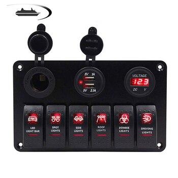 LED łodzi przełącznik rakietowy Panel morskie wyłączniki listwa sieciowa podwójny ładowarka z gniazdem USB cyfrowy napięcie v 12 v 24