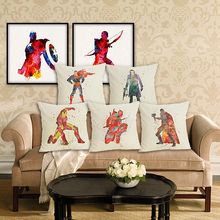 RECOLOUR  marvel super hero superman linen throw pillows square Cushion Cover Home decor cojines decorativos para sofa