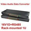 1 par 19 pulgadas montado en Rack 1U 16 canales de Video de fibra óptica Media Converter individual Single Mode Fiber FC 20 KM + RS485 Data