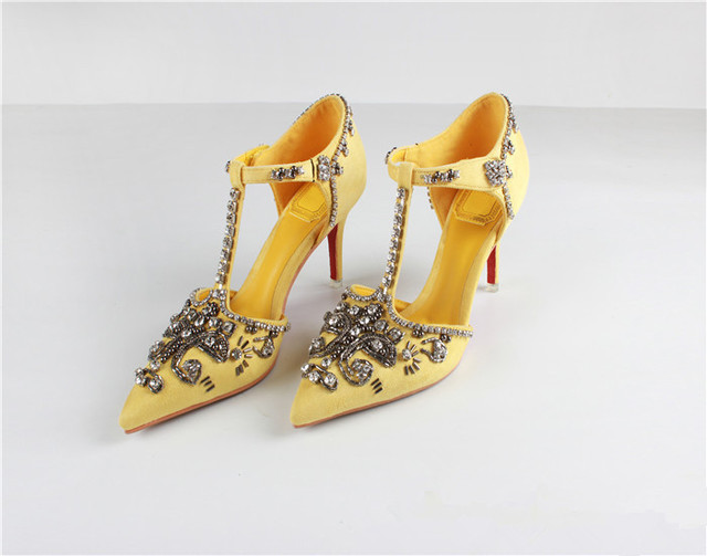c5f2e7f74cab3b Brand Yellow Satin Fashion Wedding Shoes Square Heel Slip-On Dress Womens  High Heels Size 34-40
