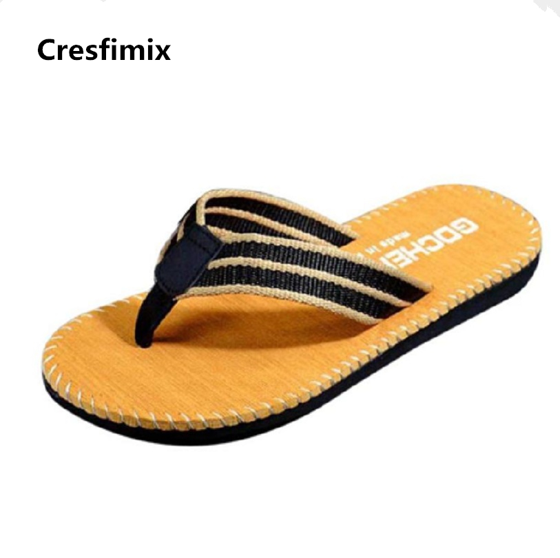 Cresfimix men casual ruffles flip flops male spring and summer soft beach flip flops man's cool and comfortable black flip flops