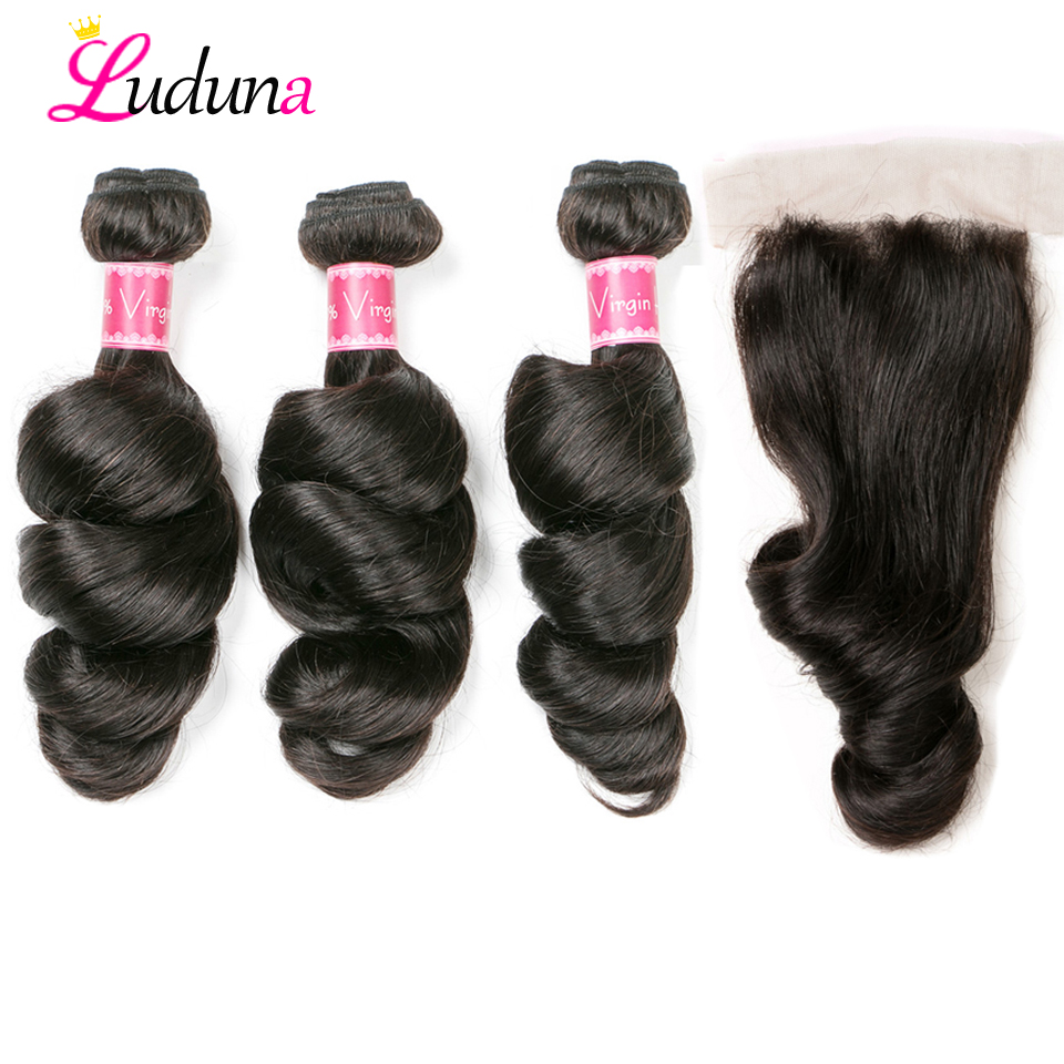 Luduna Brazilian Loose Wave Hair Weave Bundles With Closure 3 Bundles With Closure Non Remy Hair