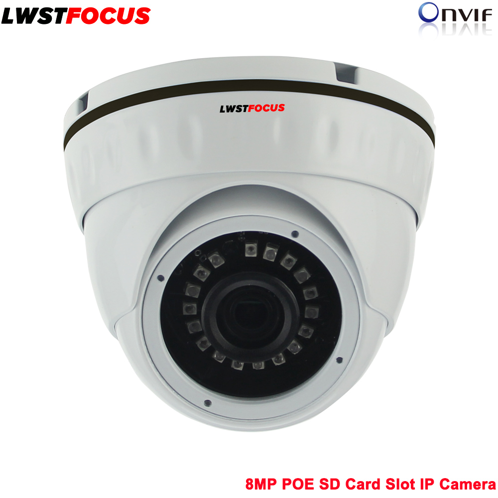 LWSTFOCUS 8MP POE SD Card Slot IP Camera Network Dome Camera H.265 High Resolution CCTV Camera with SD Card Slot Max 128GB IP67