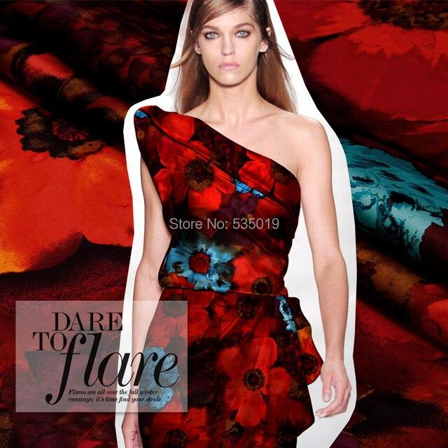red Digital printing flowers 2018 new fashion high quality silk fabric elastic satin silkworm silk dress shirt clothes fabric