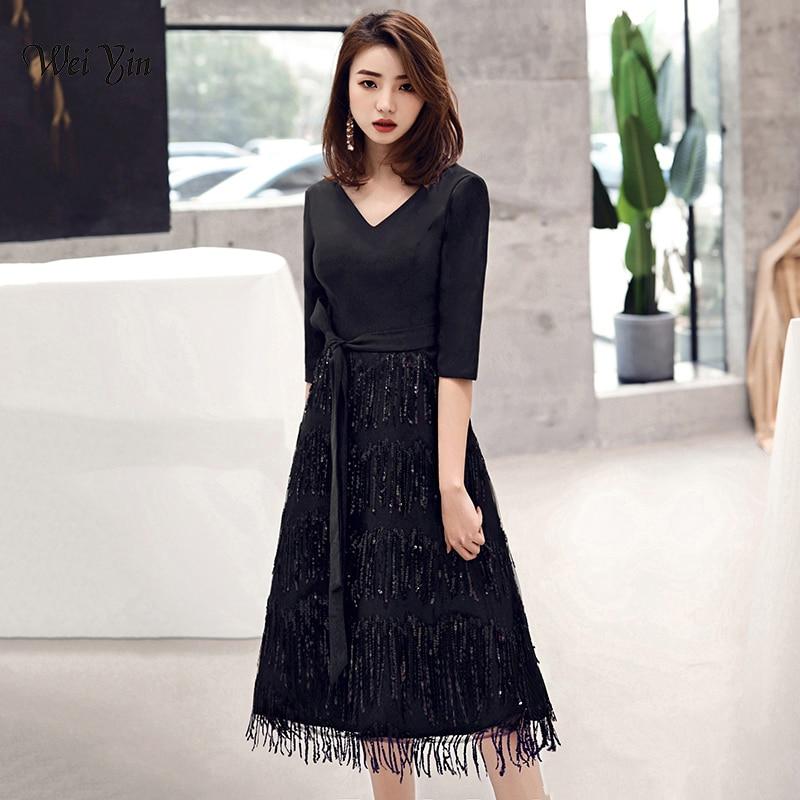 wei yin 2019 Women Sexy Tasse   Evening     Dresses   V-Neck A-Line Short Sleeve Casual Midi Party   Dress   Robe de Soiree WY1609