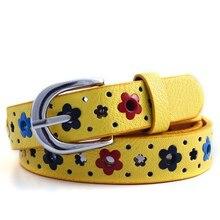 Подарок для девочек, детский брендовый кружевной пояс с бабочками и цветами для мальчиков и девочек, пояс из искусственной кожи