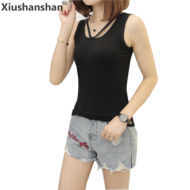 Xiushanshan 2018 Casual Front Cross Women Top Sleeveless Black White Gray Solid S XXL 95% Cotton Slim Summer Tank Tops 115